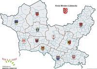 Kreiskarte mit Gemarkungsgrenzen u. Gemeindewappen