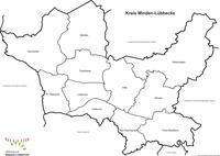 Kreiskarte mit Gemeindegrenzen in schwar/weiss