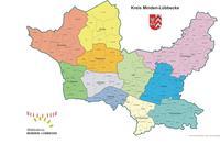 Kreiskarte mit Gemarkungsgrenzen farbig