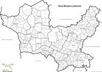 Kreiskarte mit Gemarkungsgrenzen in schwarz/weiss