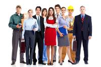 Bild vergrößern: Group of employee people. Business team isolated on white background.