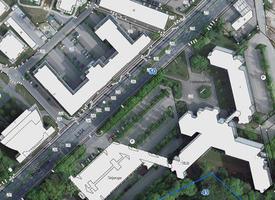 Digitale Liegenschaftskarte mit hinterlegtem Luftbild