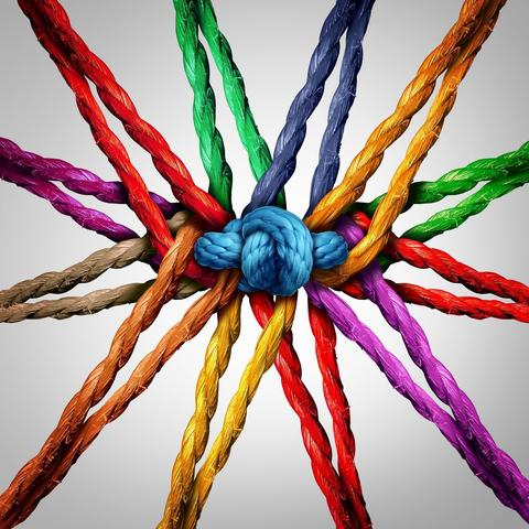 Bild vergrößern: Group holding together as different ropes connected and tied and linked together in the center by a knot as a strong  unbreakable chain and community trust and faith metaphor.