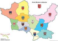 Kreiskarte mit Gemeindegrenzen u.Wappen